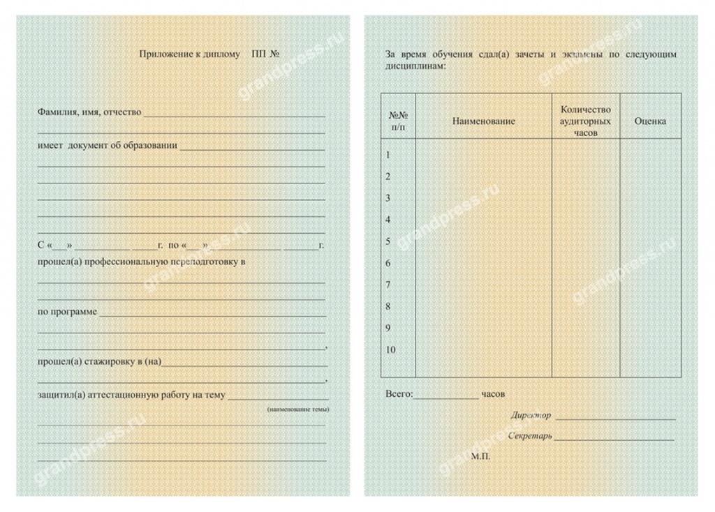 Дипломы свидетельства сертификаты заказ тиражом от штук Образец вкдадыша для диплома офсетная печать
